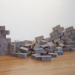 "Bricklayer2, Flora Foam, pins dimensions variable 84""x36""x3"" 2012"