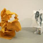 "CornerRock1 & 2, Tablecloth, Aluminum-lined paper, acrylic medium, steel, thread, glue  74""x36""x30"" 2012"