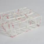 "Papercrate,  Glycene, steel, acrylic, glue 8""x 16""x 12""  2011"