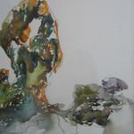 """Pond Overlook Watercolor, ink, paper 15""""x10"""" 2006"""